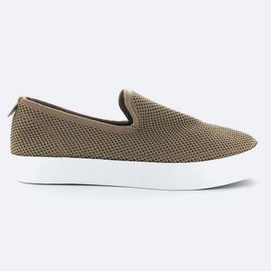 RESTRICTED Verity Tan & White Knit Slip-On Sneaker